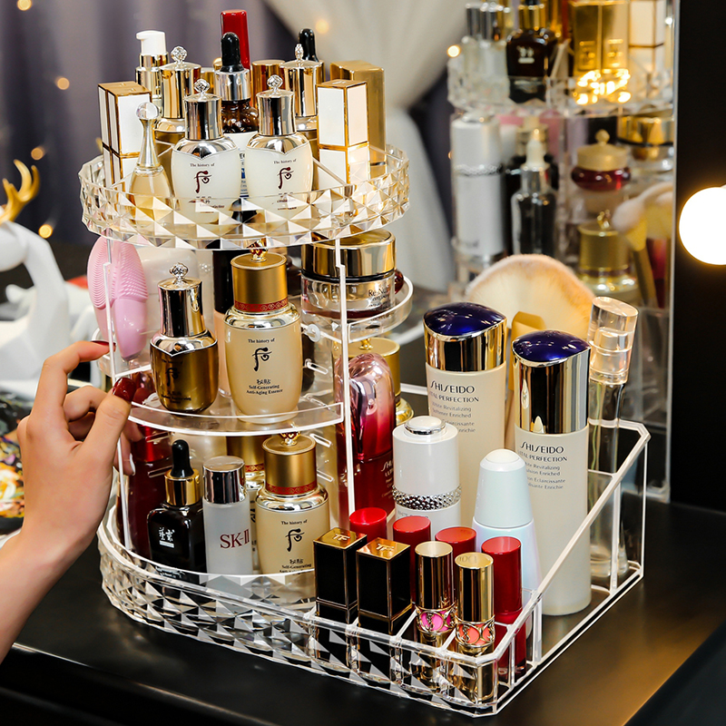 Cute Spinning Rotating Makeup Organizer Holder High Quality L Shape Acrylic Spinning Rotate Cosmetic Storage Orgaizer Box C5012
