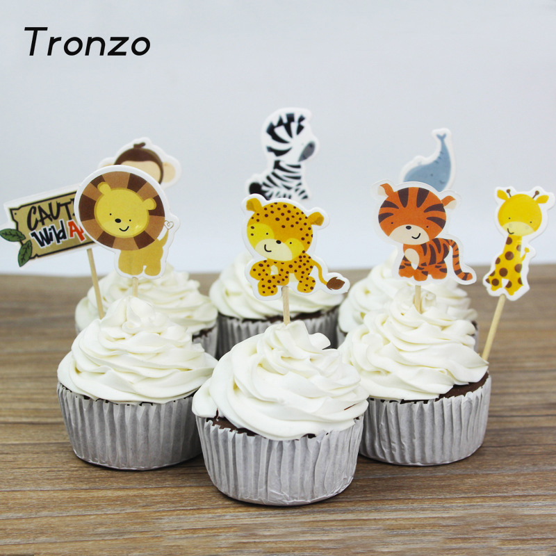 48pcs Dinosaur Cupcake Toppers Picks Funny Wedding Cake Decorating Supplies Baby Party Decoration