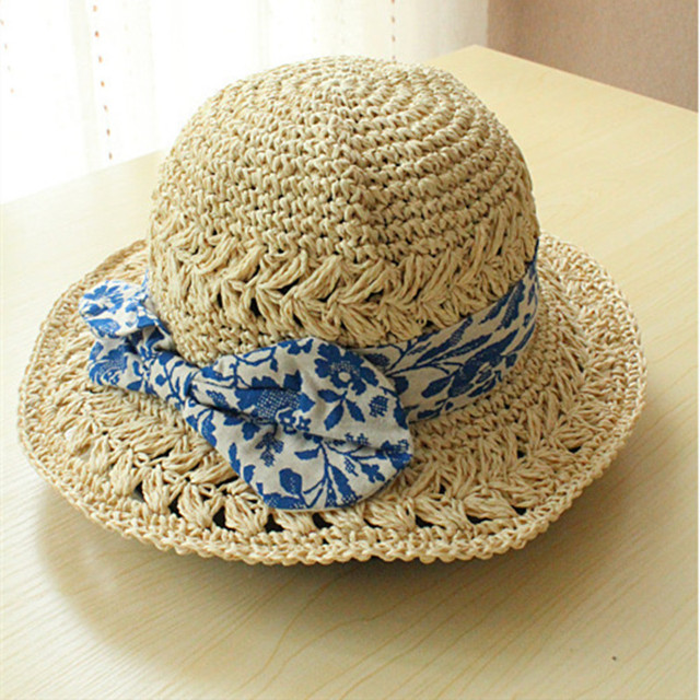 Summer Straw Bucket Hat Blue and White