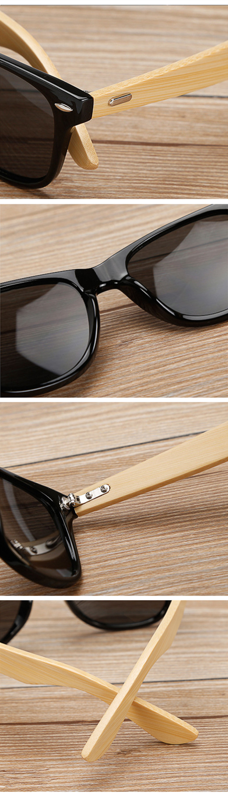 Bamboo Sunglasses Men Women Travel Goggles Sun Glasses Vintage Wooden Leg Eyeglasses Fashion Brand Design Sunglasses Male Female 19