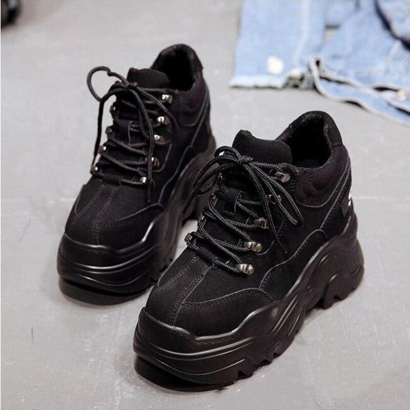 Botas Tacón Al Cm Tobillo Altura Beige Más Vez Otoño Mujeres Zapatillas Del Cuero Mujer La Cuña Plataforma Aire Zapatos negro Cada Deporte Alto 2019 De 12 Libre 5Rvqzw