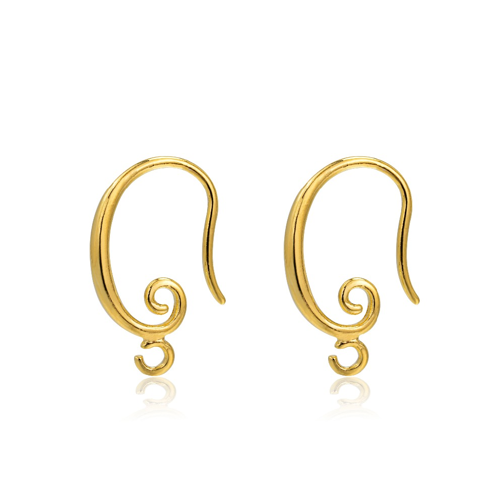 19*12mm Gold Plated High Quality Brass Ear Wire Hooks Earrings Findings For Components DIY Jewelry Findings
