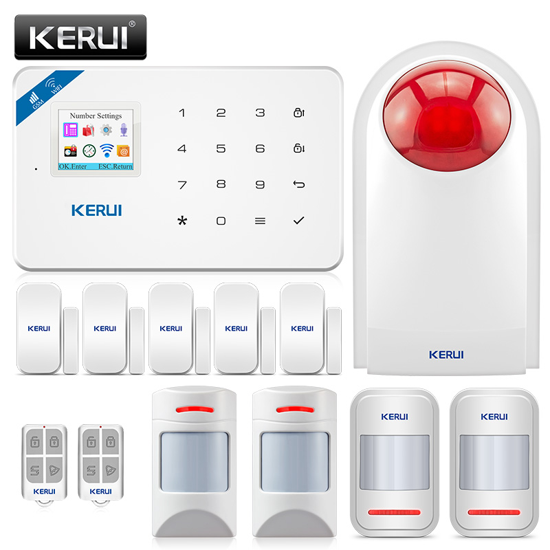 KERUI WI8 WIFI GSM Burglar Security Alarm System anti pet motion detector door sensor wireless siren