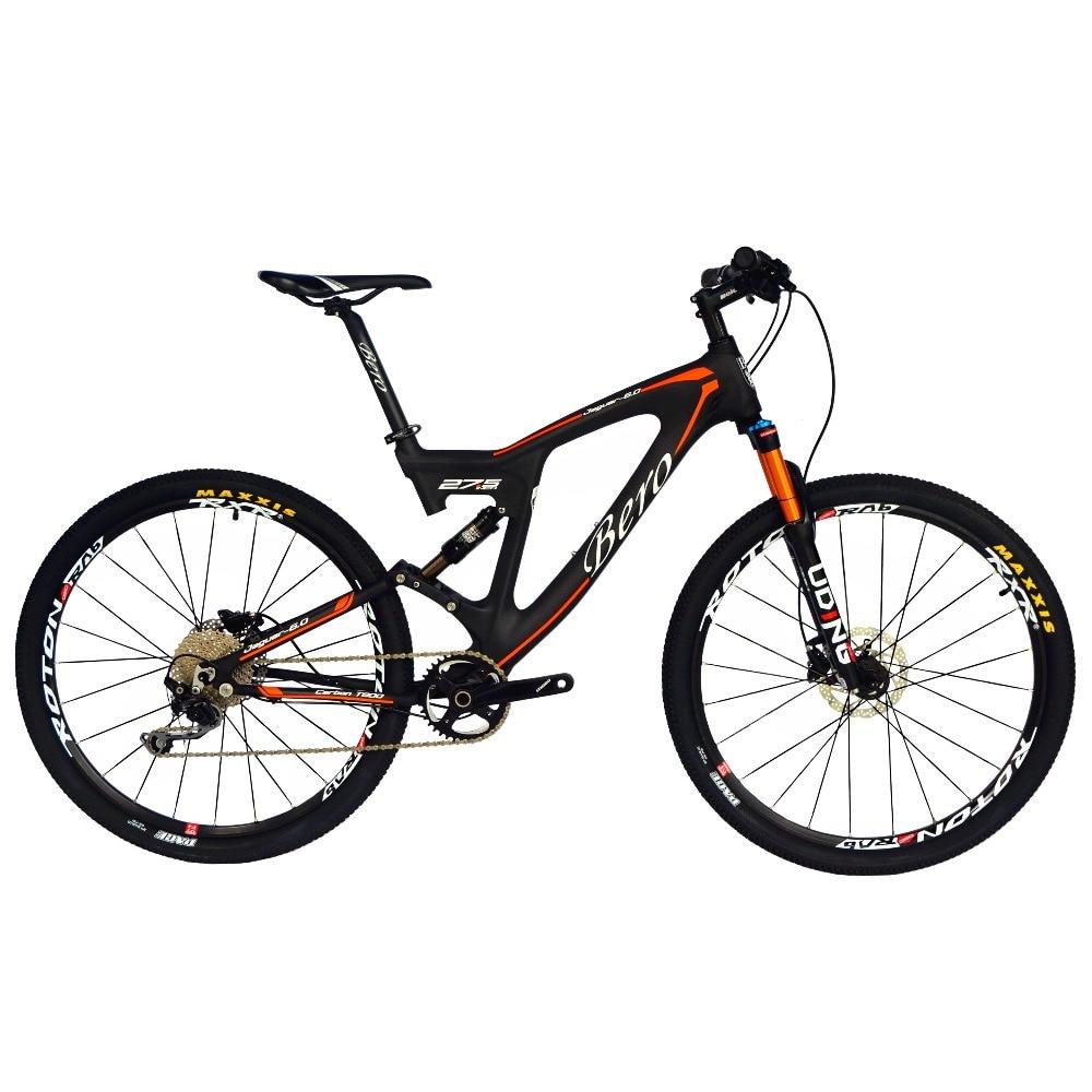 BEIOU Carbon Dual Suspension Mountain Bicycle All Terrain 27.5 Inch MTB 650B Bike 10 Speed SHI MANO DEORE T700 Matte 3K CB22