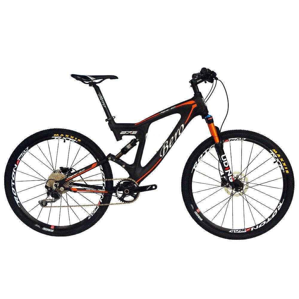BEIOU carbone double Suspension vélo de montagne tout Terrain 27.5 pouces vtt 650B vélo 10 vitesses SHI MANO DEORE T700 mat 3 K CB22