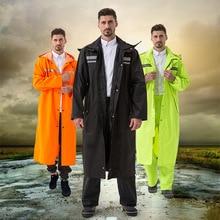 1pc long waterproof men rain coat adults flimsy solid color rainwear women Reflective strip raincoat for hiking at outdoor YY053