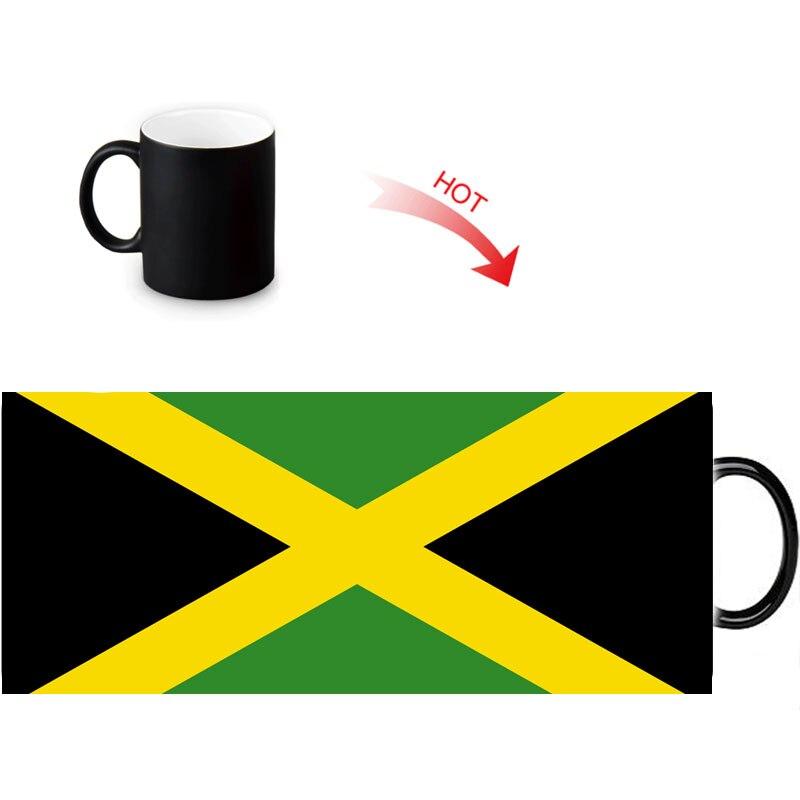 jamaica flag printed color changing mugs home porcelain tea milk cup