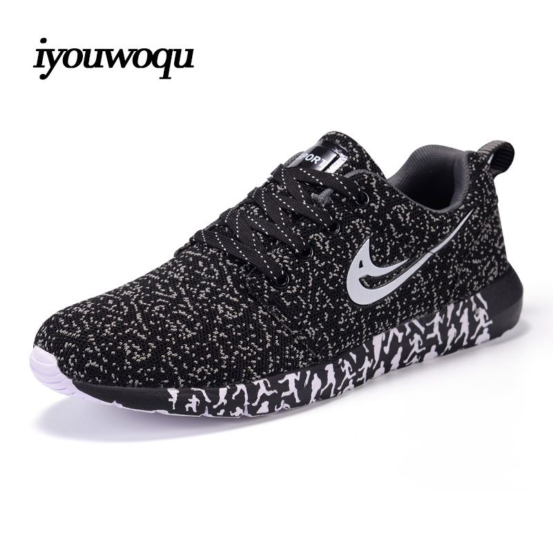 Iyouwoqu fashion plus size men casual shoes 2016 autumn new design lightweight breathable mesh trainers shoes