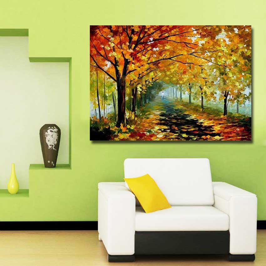 Large Wall Pictures for Living Room Handmade Modern Tree Scenery Oil ...