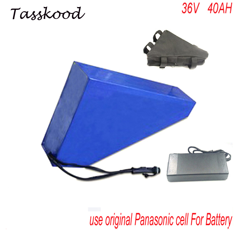 Triangle style Rechargeable Lithium ion Battery Pack 36V 40Ah for e-bike, e-scooter, e-golf cart with Bag For Panasonic Cell 72v 3000w lithium ion battery pack for scooter e motorcycle electric bike