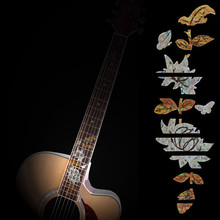 Guitar Bass Inlay Sticker Fretboard Marker DIY Fret Decal Butterflies Over Flower For Acoustic Electric Guitar Accessories