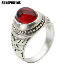 SUNSPICE Retro Vintage Bohemia Red Natural Stone Rings Round Crystal Relief Deer Ancient Men Antique Rings Women Ethnic Jewelry sunspice ms