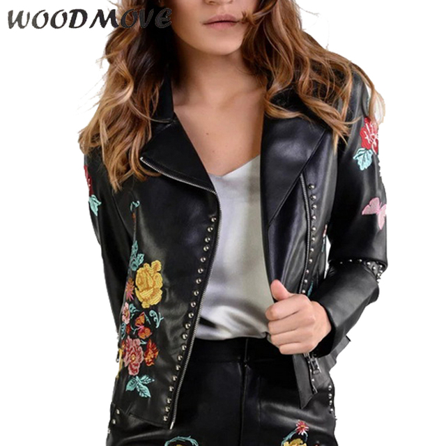 2017 Womens Leather Jacket Women S Winter Flowers Embroidery Pockets