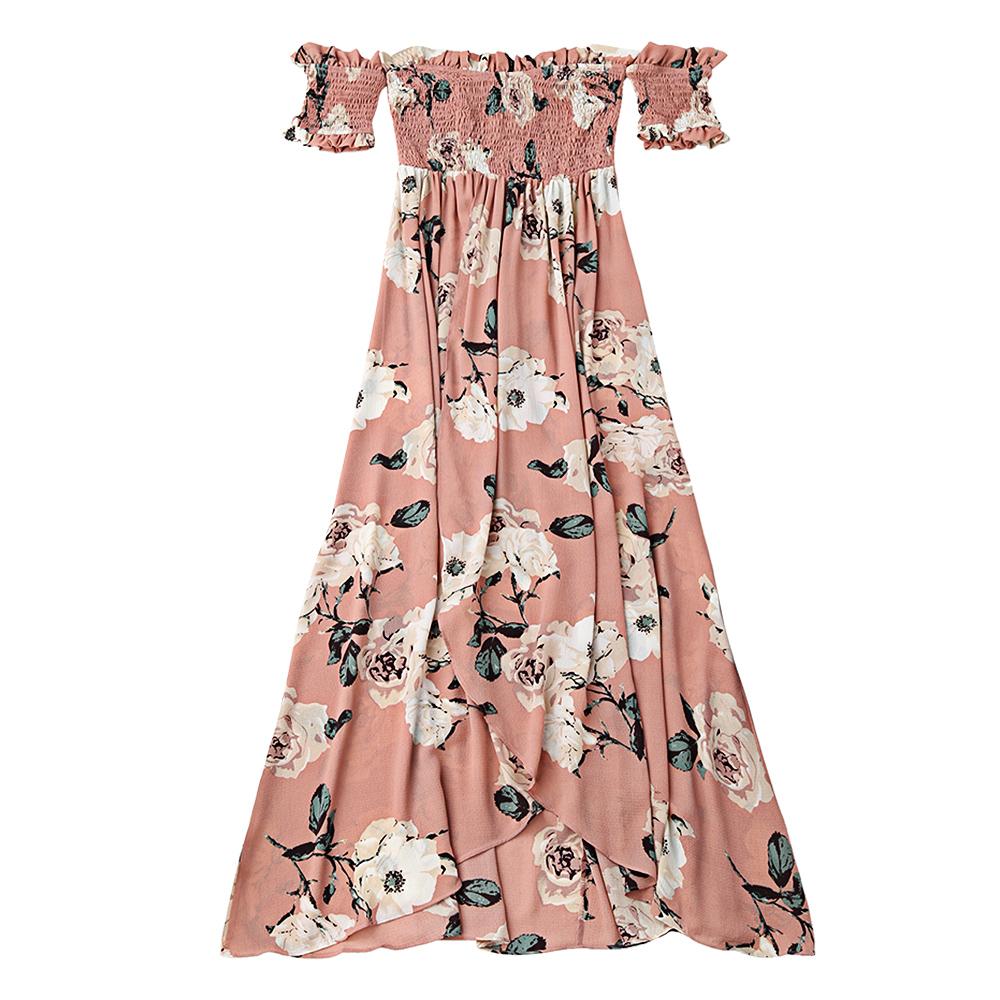 AZULINA Ruffles Off Shoulder Shirred Floral Maxi Dress Boho Tunic Women Short Sleeve Bohemian Long Dress Female 2017 Robe Femme 3