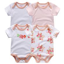 Kiddiezoom 4 PCS/lot Baby Girl Boy Romper Short Sleeve Floral Print Summer Clothing Set for Newborn Jumpsuits(China)