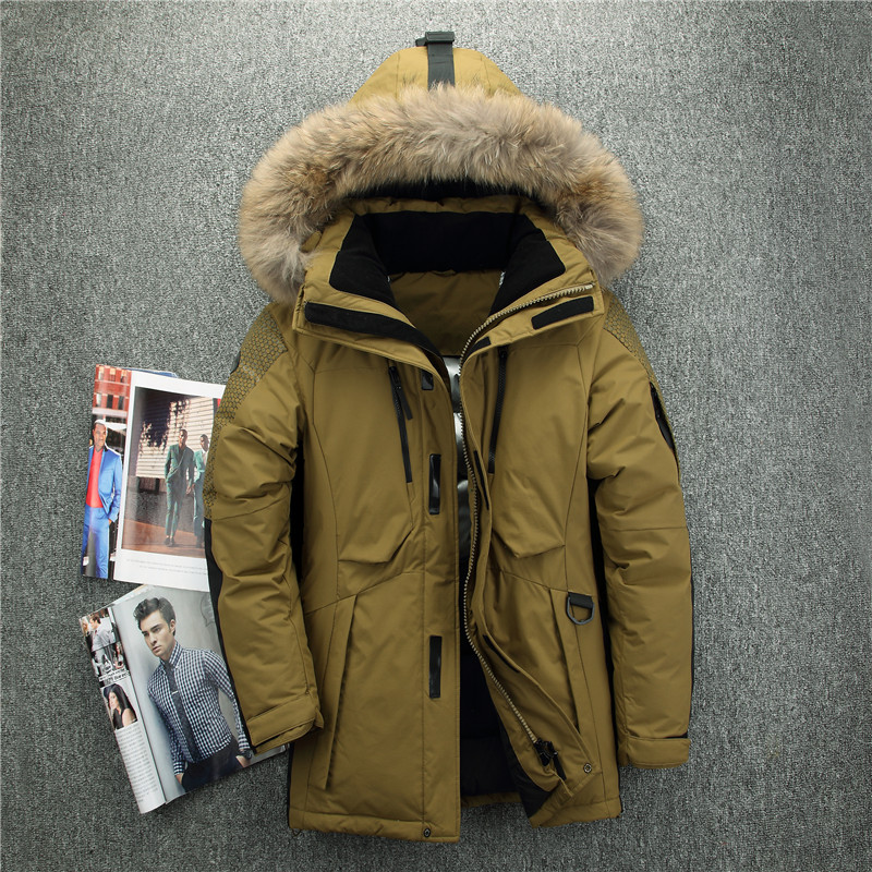 New Arrival Russia Winter Jackets For Men Fur Collar Medium Long Coat Thick Men's Down Jacket Windproof Doudoune Hiver Homme
