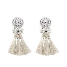 New Fashion Silver/Gold Tassel Earrings For Women Handmade Bohemia Vintage Beads Earring Ethnic Fringe Drop Earring Jewelry