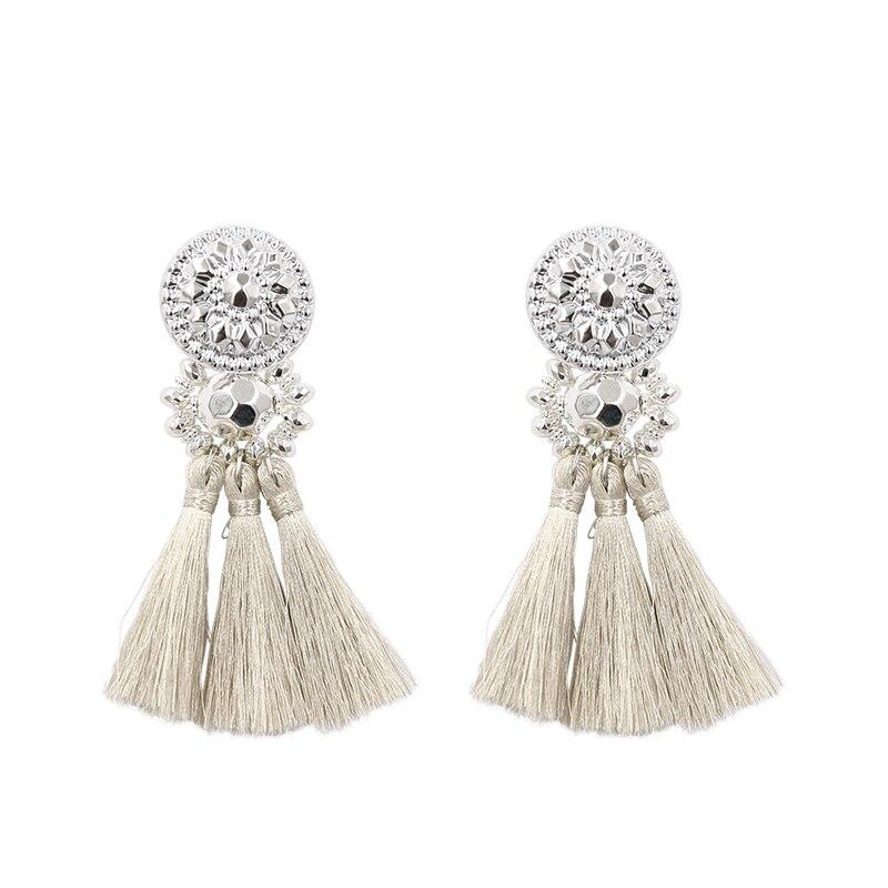 Nouvelle mode Argent/Or Gland boucles d'oreilles pour femmes À La Main Bohême Vintage Perles Boucle D'oreille Ethnique Fringe Baisse Boucle D'oreille Bijoux