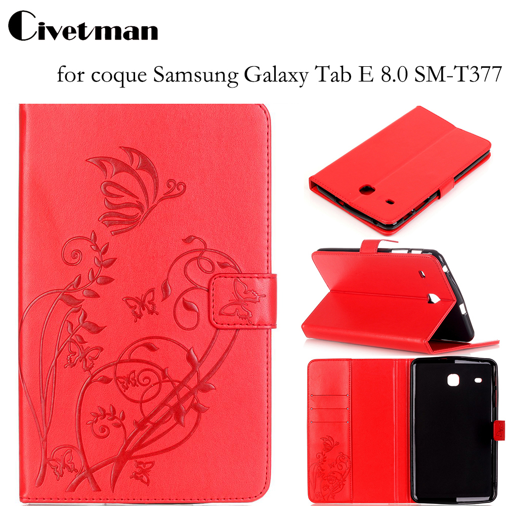 Civetman PU Leather Tablet Cover for coque Samsung Galaxy Tab E 8.0 SM-T377 Case for fundas Samsung Galaxy Tab E 8.0 T377V T375 tab s2 9 7 inch tablet cover case for samsung galaxy tab s2 9 7 sm t810 t815 retro fashion wood pu leather original folding case
