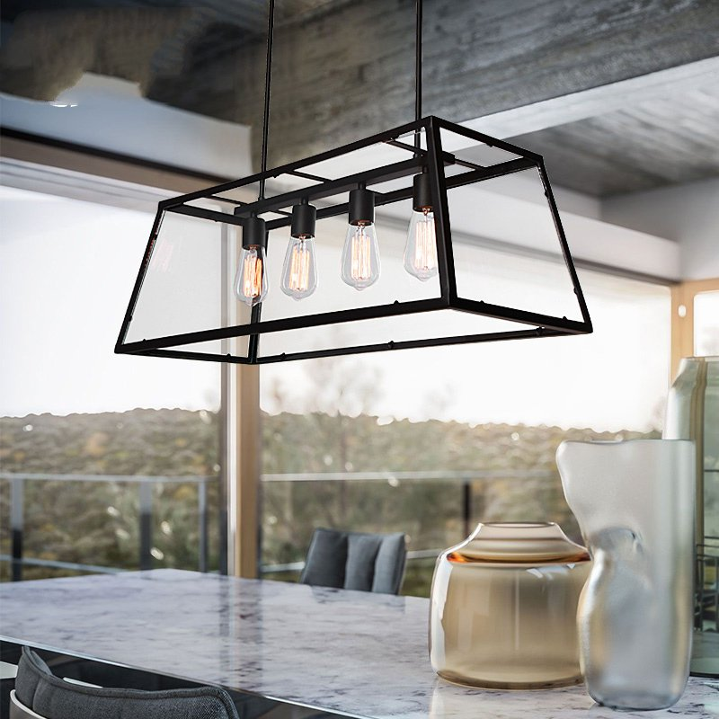 Archaistic transparent Acrylic box lampshade retro loft vintage pendant lamp dinning room restaurant light  Archaistic transparent Acrylic box lampshade retro loft vintage pendant lamp dinning room restaurant light