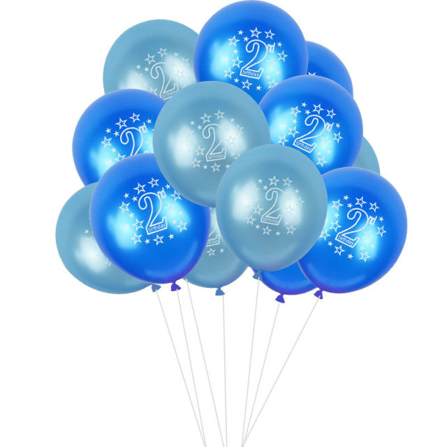 10pcs 4 Colors 2nd Birthday Balloons Happy Birthday Printed 2 Latex