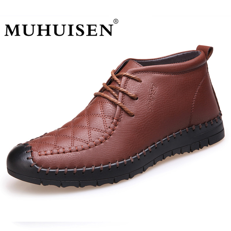 MUHUISEN Men Ankle Boots High Quality Winter Soft Leather Snow Boots Vintage Warm Fur Casual Shoes Male Shoes Flats