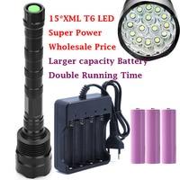 2017 new 15*XML T6 LED 30000 lumens Outdoor waterproof floodlight flashlight,torch,lantern,camp light, lamp, Hunting by 3*18650