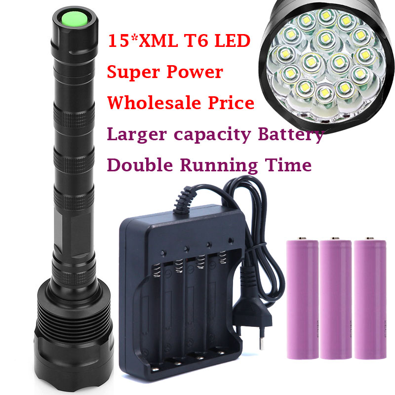 2017 new 15*XML T6 LED 30000 lumens Outdoor waterproof floodlight flashlight,torch,lantern,camp light, lamp, Hunting by 3*18650 sitemap 19 xml