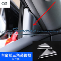 2pcs/lot Car stickers ABS Chrome A pillar triangle decoration cover Trims For Nissan Armada Patrol Royale Nismo Y62 2016 2018