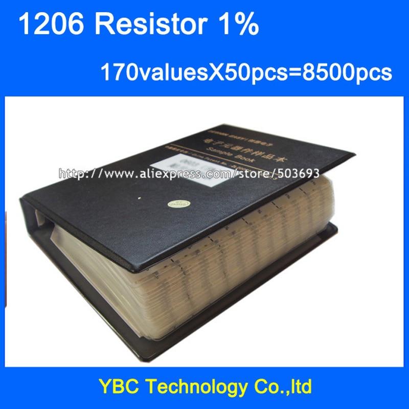 Free shipping 1206 SMD Resistor Sample Book 1 Tolerance 170valuesx50pcs 8500pcs Resistor Kit 0R 10M