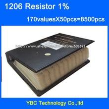 Free shipping 1206 SMD Resistor Sample Book 1% Tolerance 170valuesx50pcs=8500pcs Resistor Kit 0R~10M