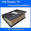 O envio gratuito de 1206 SMD Livro Da Amostra Resistor 1% Tolerância 170valuesx50pcs = 8500 pcs Resistor Kit 0R ~ 10 M