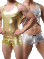 Plus Size M L XL Mens Sexy Vest Faux Leather Gold Silver Tank Tops For Male