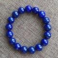 Lujoso naturales lapis lazuli de pulsera de cuentas de color azul royal 12mm diámetro lapislázuli joyería para la mujer