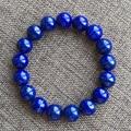 Luxuoso natural lapis lazuli lapis lazuli jóias bracelete frisado royalblue cor 12mm de diâmetro para a mulher