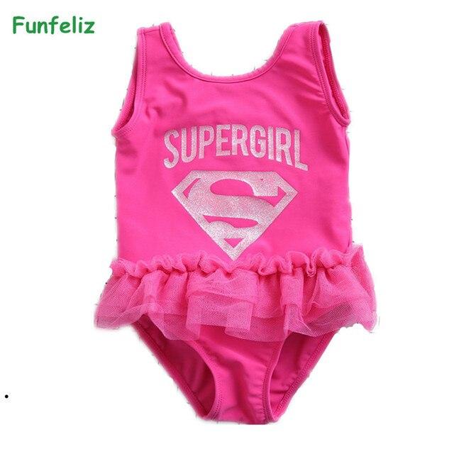 d3f4f6780dfea Funfeliz Children swimwear Pink Supergirl one piece swimsuit with skirt  girls swim wear Kids Beachwear Girl Bathing Suit