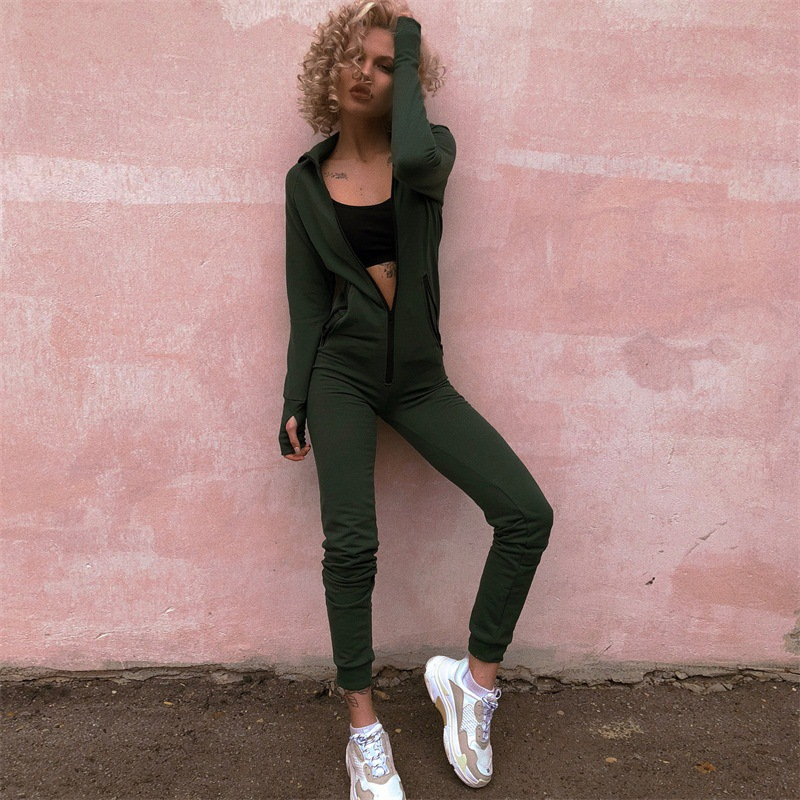 Women Winter Jumpsuits Long Sleeve Hooded Outfits Zipper Cotton Sexy Club Wear Jogging Bandage Bodycon Fitness Jumpsuit