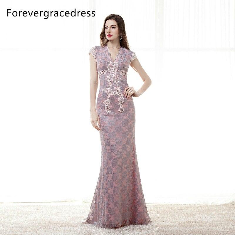 Forevergracedress nouveau Style dentelle longue robe de soirée Cap manches appliques dos ouvert perlé formelle robe de soirée grande taille