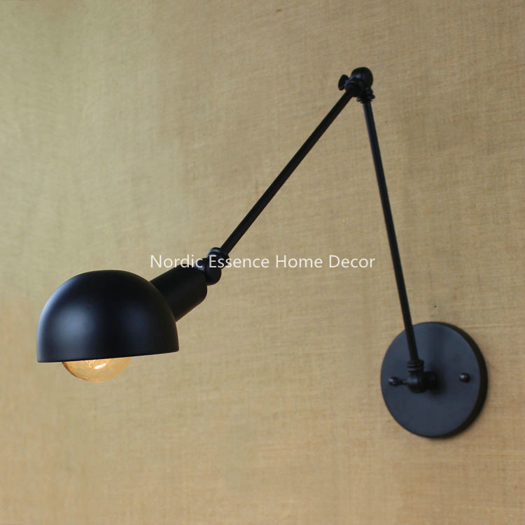 Nordic American country style rural aisle stairs corridor creative restaurant bar,wrought iron balcony simple long arm wall lamp
