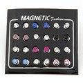 4/5/6mm Multicolor Noble and Elegant Zircon Crystal Magic Magnet Stud Earrings Wholesale