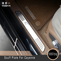 304 Stainless Steel Door Sill Scuff Plate Pedal 4pcs Chrome Accessories For Porsche Cayenne 2011 12 13 14