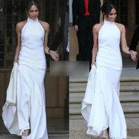 Elegant White Mermaid Wedding Dresses 2019 Prince Harry Meghan Markle Wedding party Gowns Halter Soft Satin Wedding Recept Dress