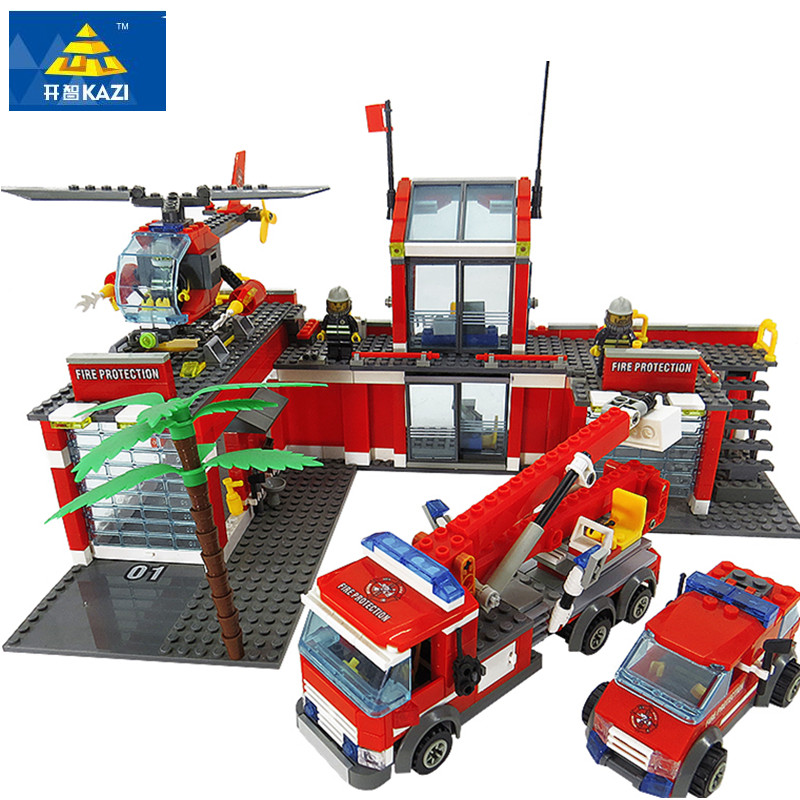 774pcs LegoING City Fire Station Building Blocks Sets Helicopter Fire Engine Fighter Truck Bricks Playmobil Toys for Children kazi new 774pcs city fire station truck helicopter firefighter minis building blocks bricks toys brinquedos toys for children