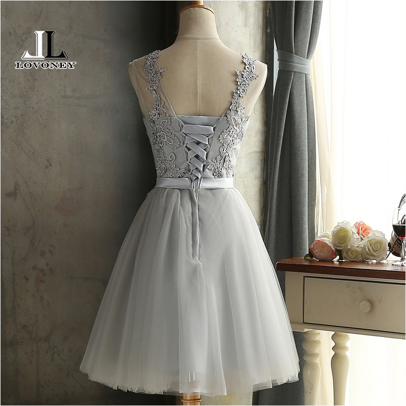 LOVONEY CH604 Short Prom Dresses 2017 Sexy Backless Lace Up Prom Gown Formal Dress Women Occasion Party Dresses Robe De Soiree 1