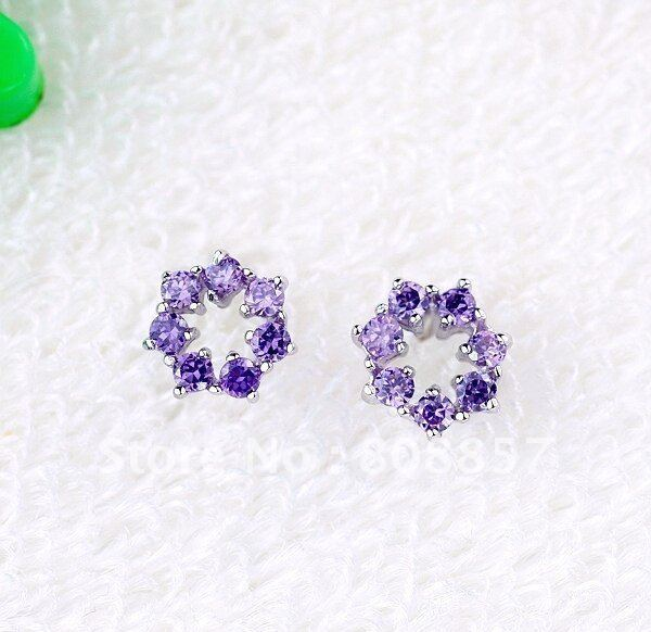 Wholesale & Retail for 925 Sterling Silver Amethyst Stud Earrings,925 Silver Earrings