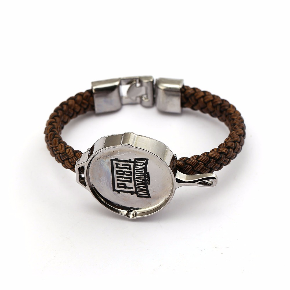 Playerunknowns Battlegrounds Bracelet Game PUBG Pan Model Leather Braided Bangle For Women Men Wristband Bracelet Souvenir HC12