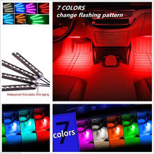 4pcs Wireless Remote Control Interior Floor Foot Decoration Light 12LED Car Atmosphere RGB Neon Decorative Lamp