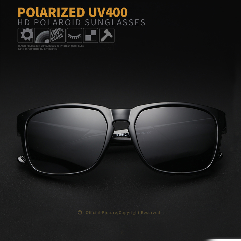 Cavero Brand Classic Polarized Sunglasses Men Driving Square Zwart - Kledingaccessoires - Foto 5