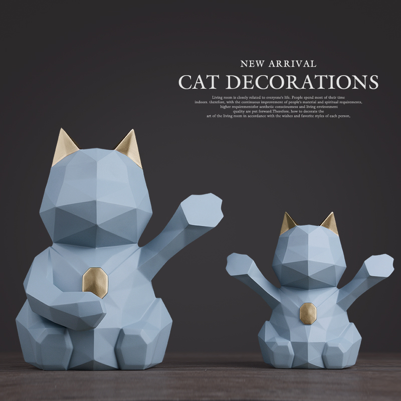 Modern Abstract Lucky Cat Sculpture Geometric Resin Animal Statue Home Decor Gift Craft Ornament Accessory Furnishing wholesale