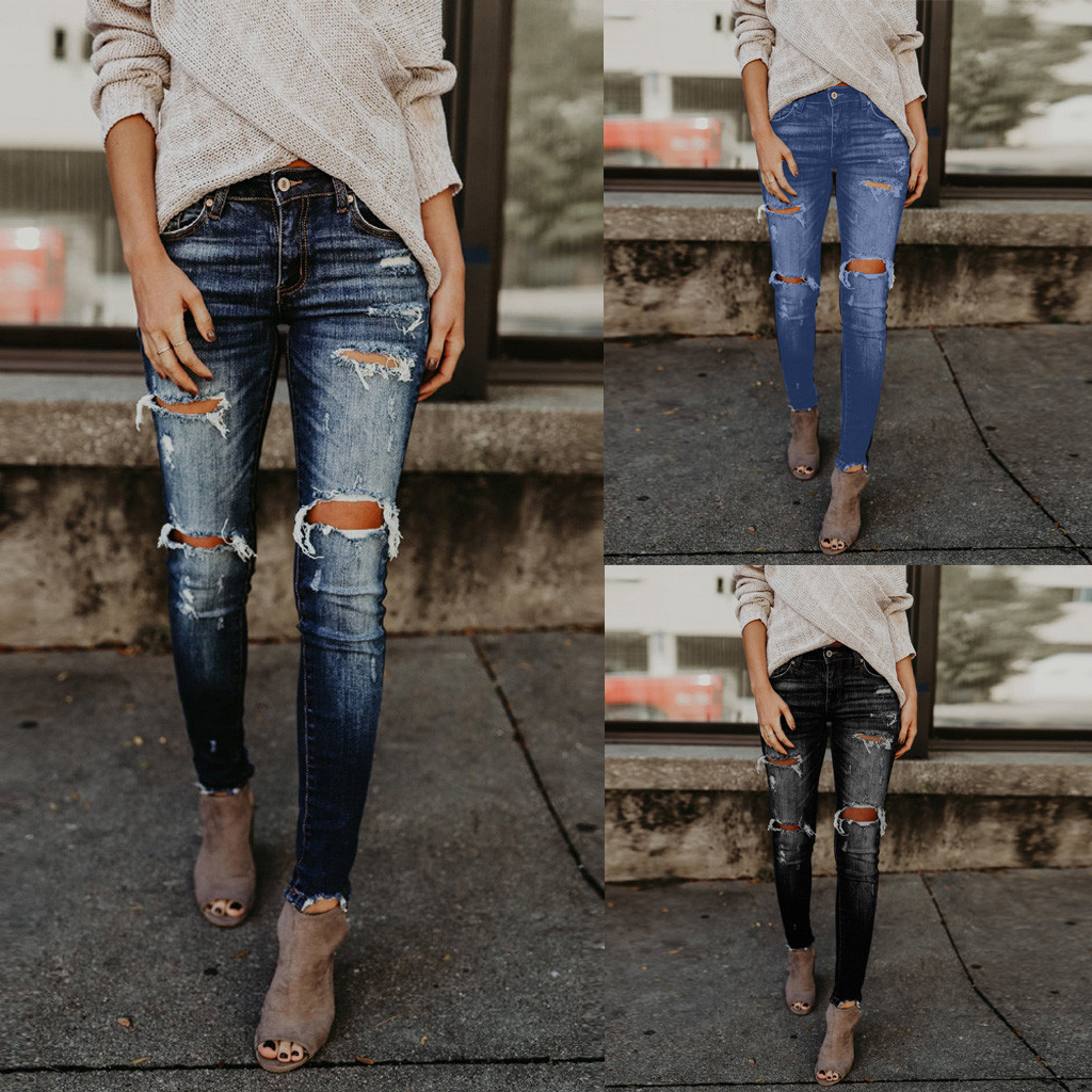 Women Hight Waisted Skinny Hole ripped slim denim   jeans   Stretch Slim Pants Calf Length   Jeans   Z402